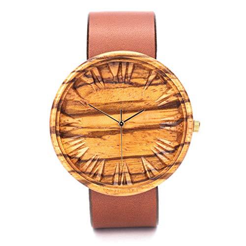 Holz Armbanduh Männer | Schweizer Quarzuhrwerk Holzuhr Herren | Geschenk für Männer | 42mm Zebra Holzkern Uhren