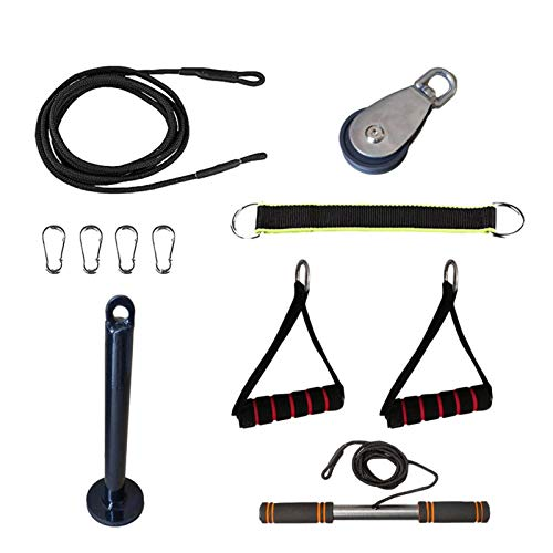 11pieza Sistema De Polea De Servicio Pesado Gimnasio Fitness Cable Sistema De Polea Cuerda De Tríceps Antebrazo Rodillo De Muñeca Entrenador Ejercitador De Entrenamiento De Fuerza Para Brazos En Casa