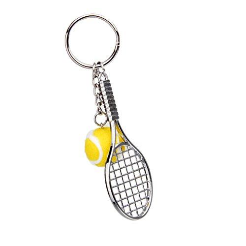 MagiDeal Palla da Tennis Racchetta Ciondolo Portachiavi Regalo Chaive Catena - 6 Colori - Giallo