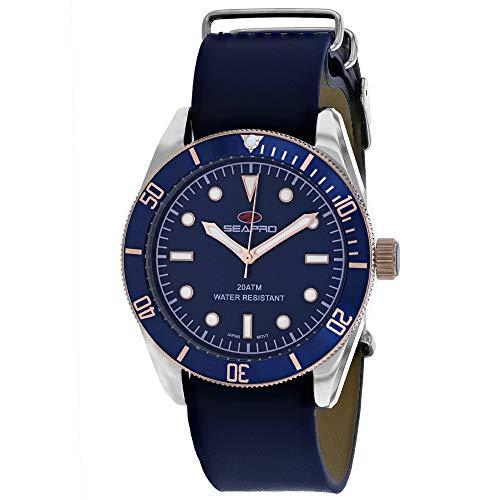 Seapro Reloj de pulsera para hombre, de acero inoxidable, cuarzo, correa de piel, color azul, 22 (modelo: SP0303)