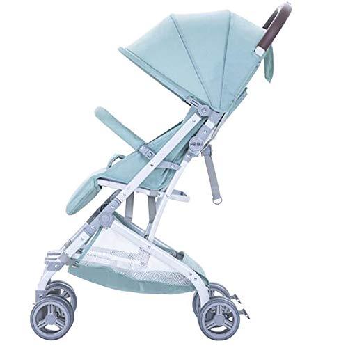 SSRS Opvouwbare kinderstoel, pasgeboren peuter reissysteem Buggy Lichtgewicht wandelwagen draagbare kinderwagens met verlengde luifel voor UV-bescherming (groen)