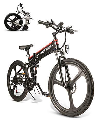 SAMEBIKE Bicicleta de montaña eléctrica 26 Pulgadas Rueda Plegable Ebike 350W 48V 10AH Bicicletas eléctricas de montaña para Adultos (Negro)