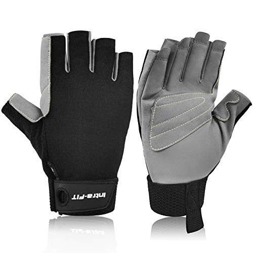 Intra-FIT Half-Finger Climbing Gloves Padded Palm Lightweight, Breathable, Perfect for Rock/Tree/Wall/Mountain Climbing