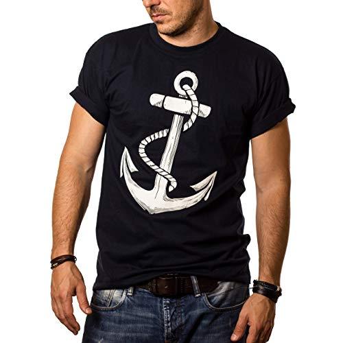 Herren T-Shirt mit Aufdruck Anker Blau Größe L