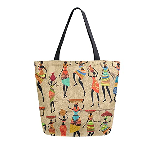 LUCKYEAH - Bolso de lona para mujer africana con estampado tribal para mujer, bolsa de hombro grande, reutilizable, bolsa de compras