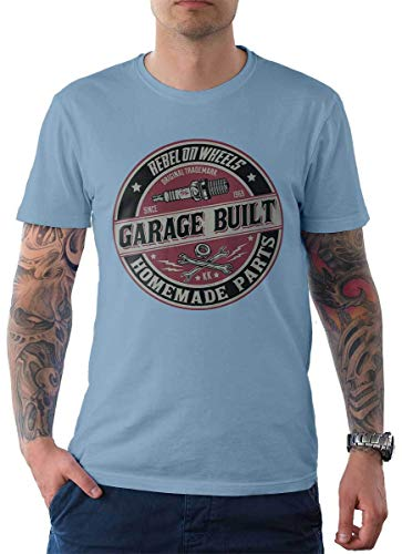 Rebel on Wheels heren t-shirt Tee Garage Built Motor Mechanic Bike Biker Motorfiets