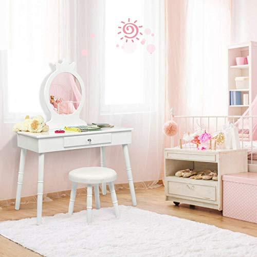 Pink Costzon Kids Vanity Table Makeup Dressing Table with Four Storage Shelves Two Folding Mirrors Children Girls 2 in 1 Detachable Design with Dressing Table and Writing Desk