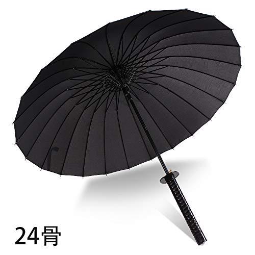 WEI Regenschirm-kreativer japanischer Samurai-Regenschirm-automatischer geöffneter gerader Regenschirm-Regen oder Glanz-Regenschirm des Gebrauches,24 Knochen,Einheitsgröße