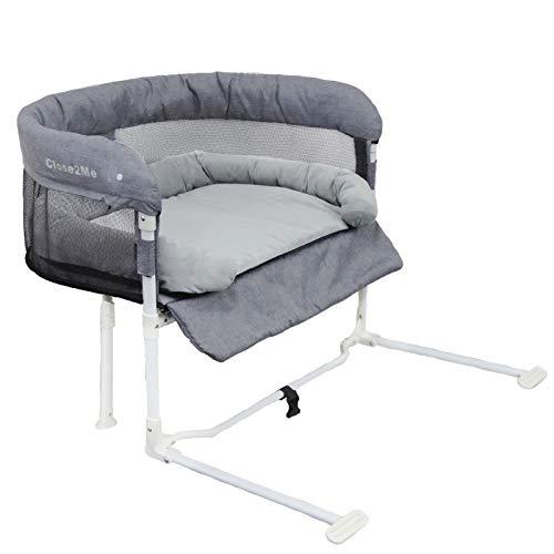 Close2Me c2m-Low+ Beistellbett für Haustiere bis max. 10 kg, inklusive Kuschelnest, passend für Möbel mit Flacher Polsterung/Topper von 8-12 cm Höhe, Einheitsgröße, grau, 5.48 kg