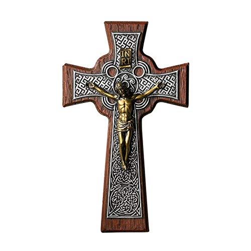Solid Wood Celtic Cross Irish Wall Crucifix with Bronze Corpus, 10 Inch