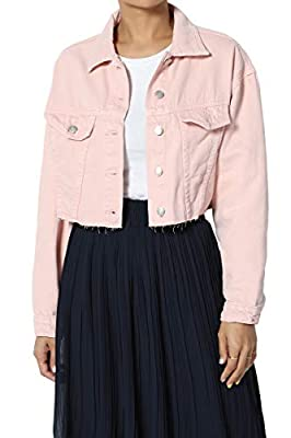 TheMogan Women's Boxy Oversized Cropped Raw Hem Jean Denim Jacket Light Pink L by
