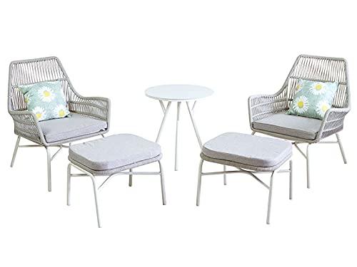 HABITMOBEL Conjunto jardín terraza 5 Elements incluidos (2 sillones, Mesa y 2 Puff)