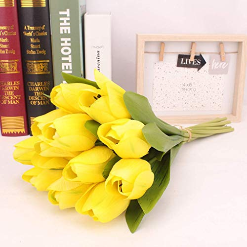 12PCS Tulip Artificial Flower Well-Made Vibrantly Colored Latex Real Bridal Wedding Bouquet Home Decor For outdoor decoration