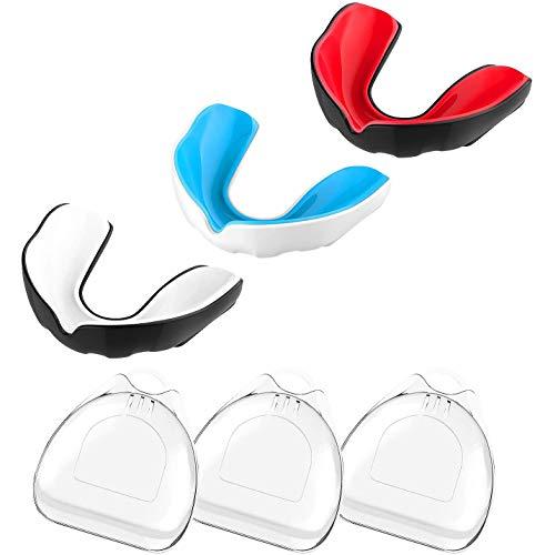 MoKo Mundschutz mit Belüfteter Hülle, 3 Stück Trägerlos Zahnschutz für Jugendliche/Erwachsene, BPA-Frei Passgen Athletisch Sportmundschutz für Boxen, Taekwondo, Wrestling, Baseball