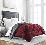 Sleep Restoration Queen Size Comforter for Bed - Down Alternative, Heavy, All-Season Luxury, Allergy Friendly - Hotel Bedding, Oversized Reversible Comforters, Burgundy/Grey