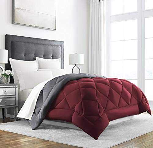 Sleep Restoration Queen Size Comforter for Bed - Down Alternative, Heavy, All-Season Luxury, Allergy Friendly - Hotel Bedding, Oversized Reversible Comforters, Burgundy/Grey
