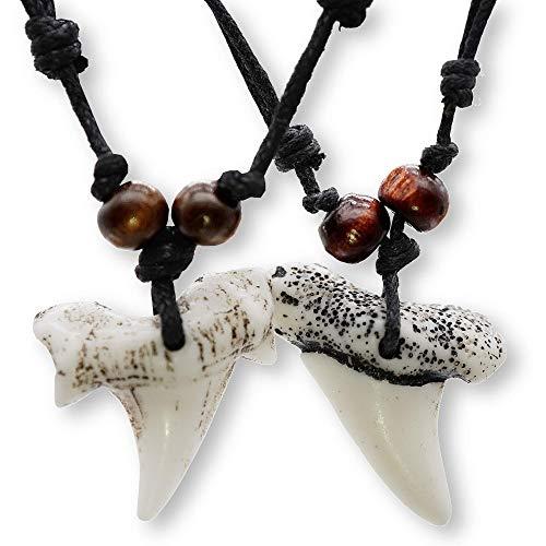 Colgante Diente de Collar surf Tiburon Collar Diente de Tiburon (x2) Collar colmillo Tiburon surfero Collar Hombre Diente Tiburon