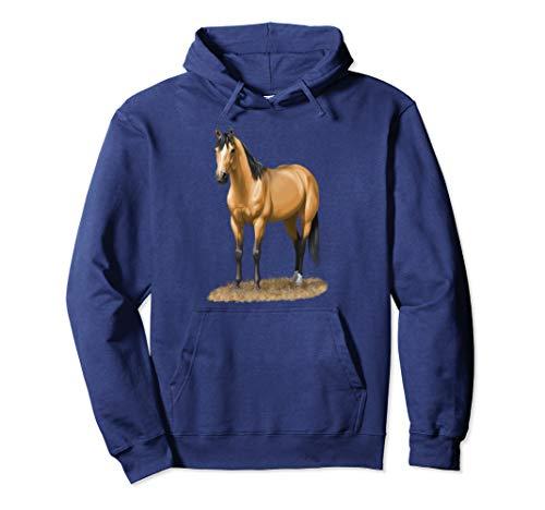 Beautiful Buckskin Dun Quarter Horse Stallion Horse Lovers Pullover Hoodie