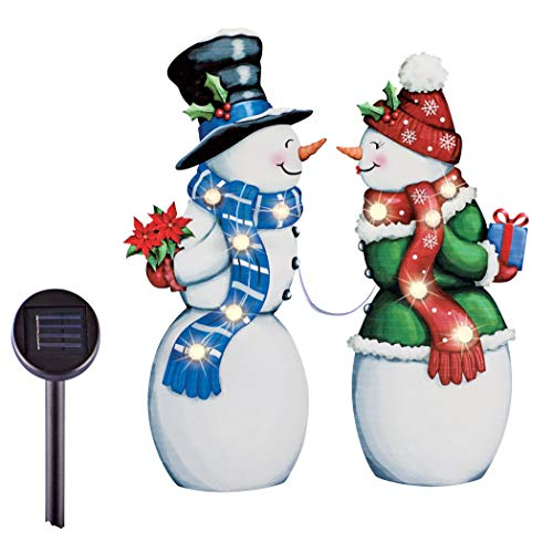 Collections Etc Solar Powered LED Lights Snow Couple Lawn Stakes - Set of 2
