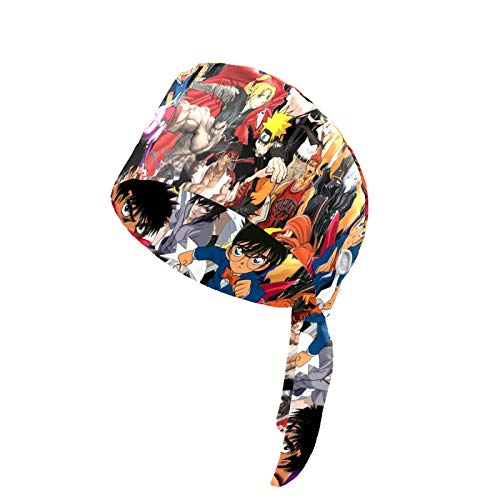 J.COXLOD Women's Working Hat with Button and Sweatband, Anime Collage Pattern Adjustable Tie Back Hats for Men