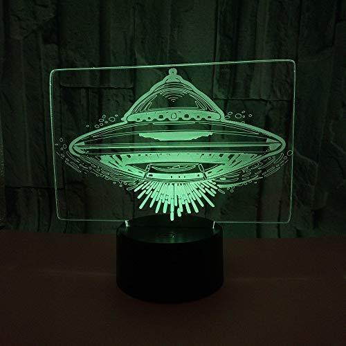 Luces nocturnas Ilusión 3D de luz nocturna lámpara para sala de estar plato decoración de dormitorio regalo lámpara de noche creativa regalo Con carga USB, control táctil de cambio de color color