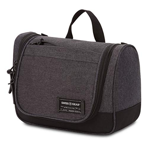 SWISSGEAR Hanging Toiletry Bag | Premium Men's and Women's Large Travel Dopp Kit | Travel Organizer for Bathroom, Gym, and Shower Toiletries – Heather Grey