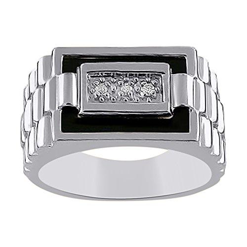 Mens Diamond & Onyx anillo plata de ley o chapado en oro amarillo