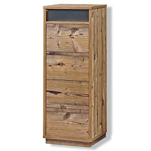 Schubladenturm Kommode Sideboard Schubkastenschrank mit Ablage 5 Farben, Farbe:Fichte