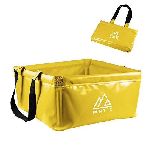 MNT10 Outdoor Faltschüssel in 15L oder 20L I Faltbare Camping Waschschüssel aus robustem Planen Gewebe I Als Camping Spülschüssel, Spülwanne oder als Faltbarer Eimer (Gelb 15L)