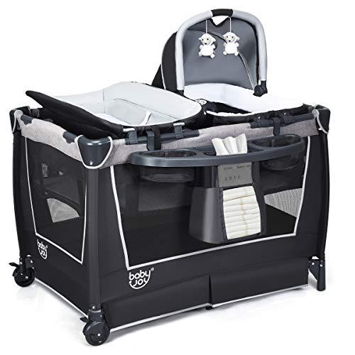 COSTWAY Cuna Plegable para Bebé Incluye Canastilla para Bebé, Cambiador, Colchón, Caja de Música, Juguete, Estante de Almacenamiento y Bolsa de Transporte para Viaje Hogar (Gris)