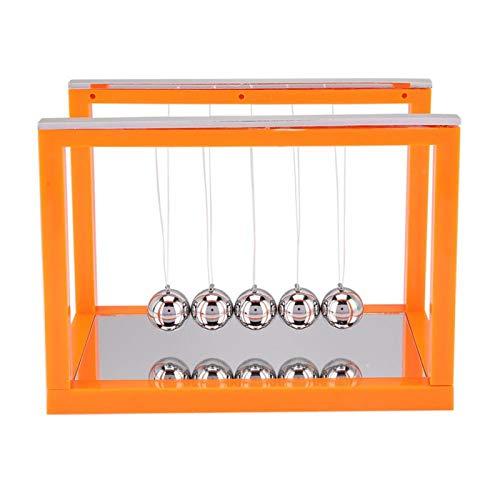 Atyhao Bolas de Equilibrio de péndulo de Newton, Cuna de Newton, Bola de Equilibrio de Acero, Juguete para aliviar el estrés, enseñanza de la Ciencia, Adornos de Escritorio físicos(Naranja)