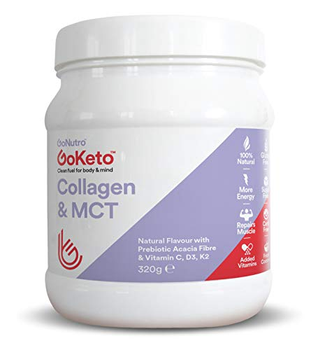 GoKeto Collagen Protein Powder, MCT Powder, Keto Shake, Zero Carbs, Acacia prebiotic, Healthy Skin, Wrinkles, Nails, Bones, Gut, Muscle & Joint Recovery Natural Flavour.