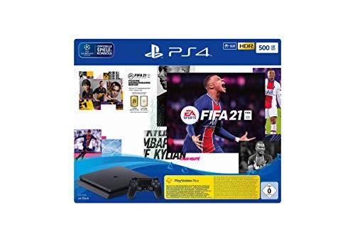 PlayStation 4 Slim Konsole - 500 GB Jet Black mit EA Sports FIFA 21 PS 4 (inkl. kostenlosem Upgrade auf PS 5)