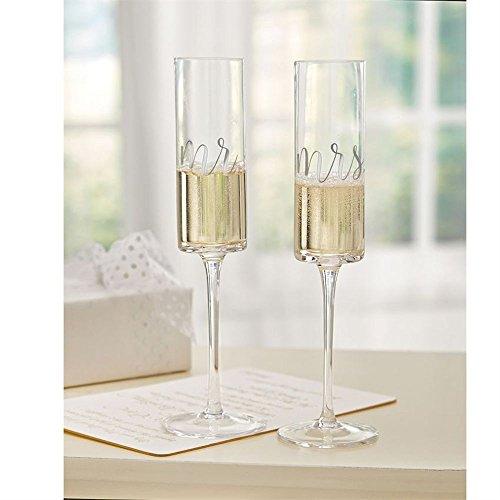 Mud Pie Mrs. Wedding Champagne Glass Set, One Size, Black