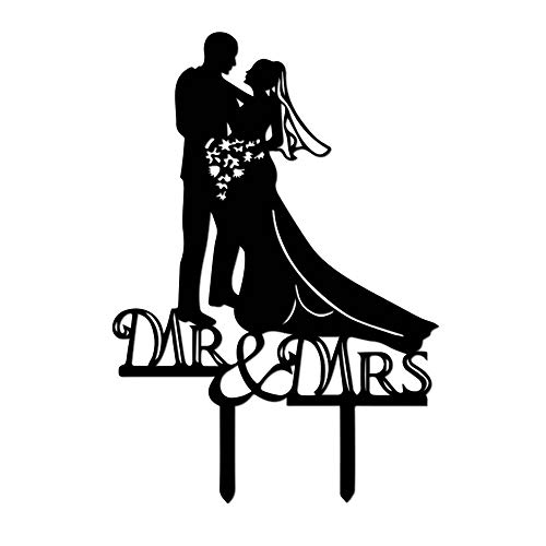 Kitchen-dream Silhouette sposa e sposo, Mr e Mrs Wedding Cake Topper, decorazioni di nozze, Cake Topper acrilico per decorazioni di nozze