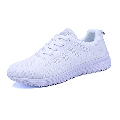 Lanivic Damen Turnschuhe Laufschuhe Atmungsaktive Sportschuhe Tennisschuhe Athletisch Fitnessschuhe Sneakers Flach Weiß 42 EU