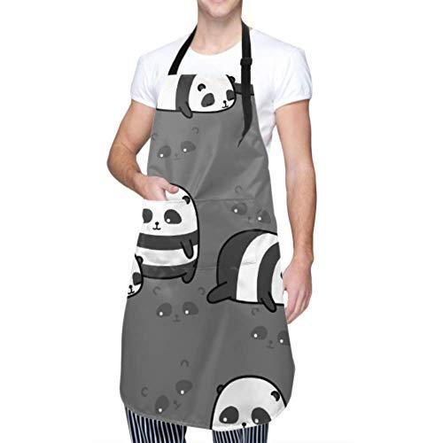 SUUJ Unisex Schürze, wasserdicht langlebig verstellbar 2 niedliche Pandas Muster Cartoon Kochschürzen Künstler Schürze für Geschirrspülen BBQ Grill Restaurant Garden
