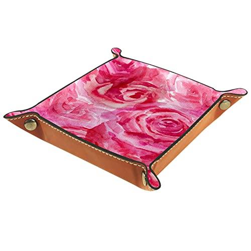 Organizador de canastas de cuero Rosa del color del agua para la mesa de estar del escritorio del tocador