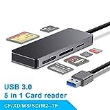 Rocketek - Lettore di schede SD USB 3.0, 5 in 1, lettore di schede di memoria USB 3.0, 5 G...