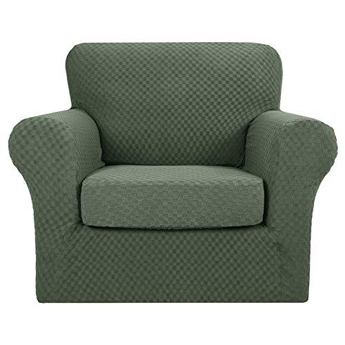 MAXIJIN 2 piezas más nuevas fundas de silla jacquard con brazos super elástico antideslizante para sala de estar perros mascotas sofá sofá sofá protector funda de sillón (1 plaza, verde ejército) ⭐