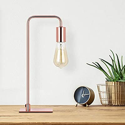 Industrial Desk Lamp, Vintage Lamp Edison Bedside Lamp for Nightstand, Metal Lamps for Livingroom Bedroom Office - Rose Gold