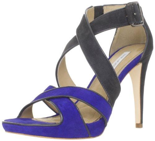 Diane von Furstenberg Women's Jodi, Royal Blue Suede/Asphalt Suede, 9.5 M US