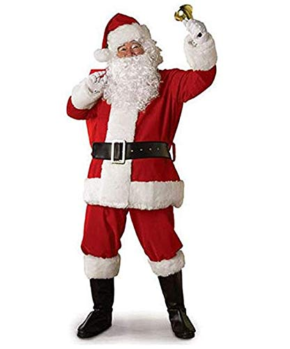 Adult Christmas Santa Claus Cosplay Costume Coat Pants Beard Belt Hat Xmas Cosplay Props Clothes Set (2XL) Red