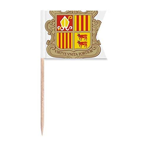 Beauty Gift Andorra La Vella Andorra Nationalemblem Markierung für die Kennzeichnung von Zahnstocher-Flaggen