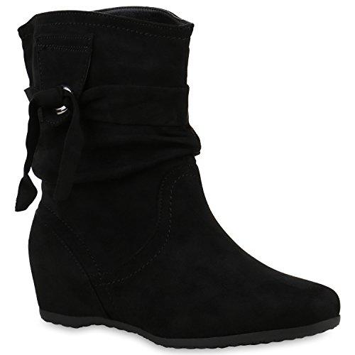 Damen Klassische Stiefel Schlupfstiefel Leder-Optik Bequeme Stiefeletten Boots Schuhe 121815 Schwarz Schleife 37 Flandell