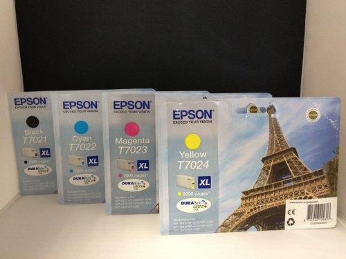 4 Originale XL Cartucce per Stampante (T7021/ T7022/T7023/T7024) per Epson Workforce pro Wp 4025 Dw Cartucce di Inchiostro