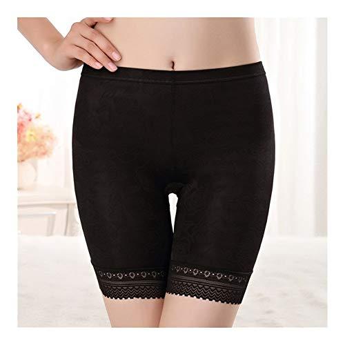 Las mujeres más el tamaño XL-4XL cordón de los pantalones cortos de la ropa interior de las mujeres de las bragas Women (Color : Black, Size : 4XL)
