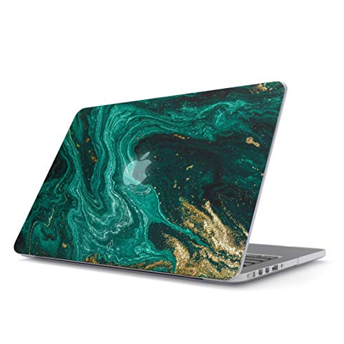 BURGA Hard Case Cover Compatible With Macbook Air 13 Inch Case, Model: A1466 / A1369 13-13.3 Inch 13' Emerald Green Jade Stone High Fashion Gold Glitter Marble Cute For Girls