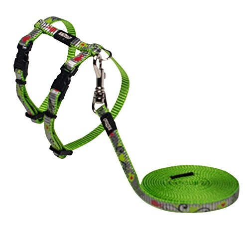 Rogz Catz ReflectoCat Lead and Harness, Extra Small, Lime