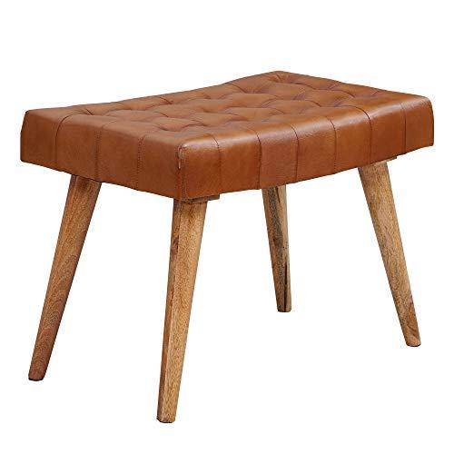 Wohnling Sitzhocker 67x47x39 cm Mango Massivholz/Echtleder Chesterfield-Design | Lederhocker Braun | Beistellhocker Hocker ohne Lehne | Country Fußhocker